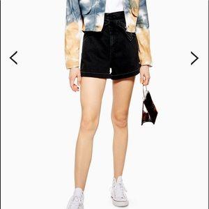 TopShop Paper Bag High Waist Black Denim Shorts 4